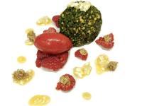 Pacojet Spargel Dessert  Spargelparfait mit Himbeersorbet