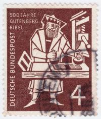 1968 wurde in Deutschland 500 Jahre Johannes Gutenberg Druckkunst mit einer Briefmarke gefeiert