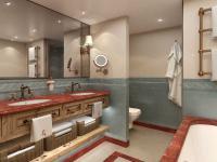 Luxuriöse Badezimmer in Porzellan von Villeroy & Boch und Marmor / Bildquelle: Beide Hotel Goldener Hirsch