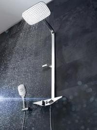 Die smarte Lösung für das Hotelbad der Zukunft: das innovative Wellfit-Duschsystem HANSAEMOTION / Fotos: Beide Hansa Armaturen GmbH