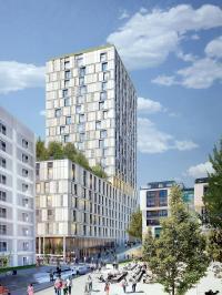 Mit dem Turm am Mailänder Platz entsteht mitten im Europaviertel Stuttgart eine urbane Gästeoase / Bildquelle: RKW Architektur + für STRABAG Real Estate GmbH