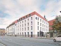 Visualisierung (MPP MEDING PLAN + PROJEKT GmbH): Der Neubau des Boutique-Hotels der Marke HOTEL INDIGO komplettiert und belebt das Grundstück am Juri-Gagarin-Ring / Bildquelle: MPP MEDING PLAN + PROJEKT GmbH