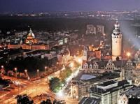 Blick über Leipzig bei Nacht