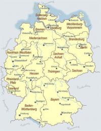 Bild: Übersichtliche Deutschlandkarte mit Städten und Bundesländern