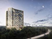 Das Steigenberger Kongress Hotel Frankfurt Airport wird ab 2024 auf 18 Stockwerken 527 Zimmer und Suiten sowie ein Kongress- und Konferenzzentrum mit 5.500 Quadratmetern bieten. / Bildquelle: Beide Groß & Partner