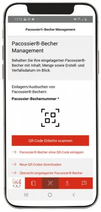 Die Pacojet App: Pacossier®-Bechermanagement