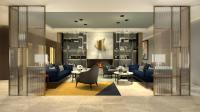 Eine gemütliche Lounge im Empfangsbereich des Adina Düsseldorf wird zum Verweilen einladen.