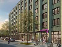 Projekt I/D Cologne: Das Moxy Hotel erhält eine identitätsstiftende grüne Klinkerfassade. / Bildquelle: Art-Invest Real Estate OSMAB