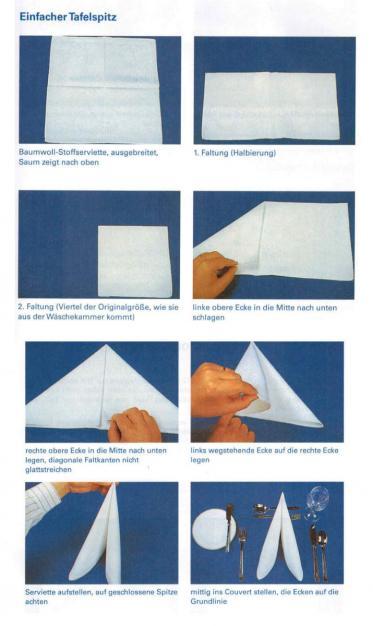 Servietten falten Anleitung - einfach wie bei der Tafelspitz-Faltung!