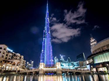 Höchste Medienfassade der Welt am Burj Khalifa in Dubai