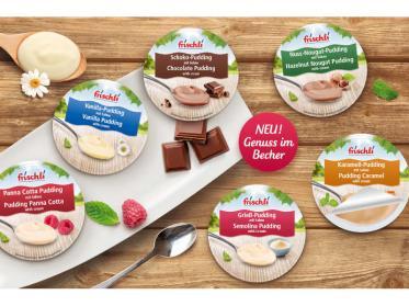 Desserts im neuen Portionsbecher von frischli