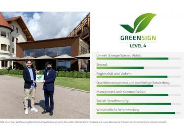 Der Birkenhof Spa & Genussresort mit GreenSign ausgezeichnet