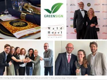 GreenSign & Waldhotel Stuttgart mit der Goldenen Sonne geehrt