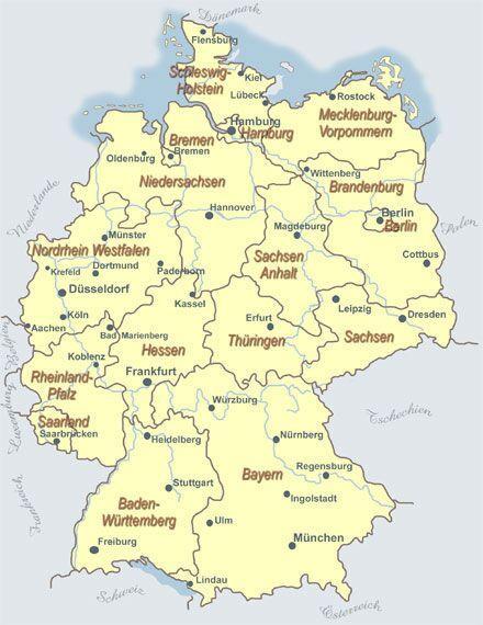 deutschland karte mit städten und flüssen Übersichtliche Deutschlandkarte mit Bundesländern und Städten