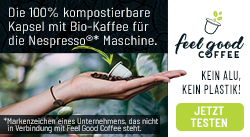 Feel Good Coffee - die 100 % kompostierbare Kaffeekapsel - kein Alu, kein Plastik
