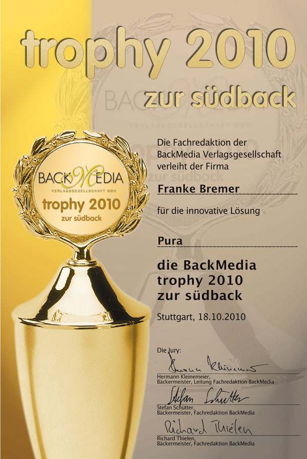 auszeichnung f r franke pura trophy 2010 zur s dback. Black Bedroom Furniture Sets. Home Design Ideas