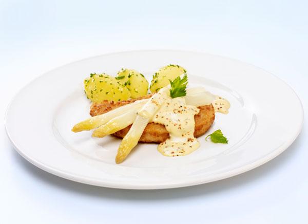 gute vegetarische rezepte valess schnitzel an spargel und sauce mousseline. Black Bedroom Furniture Sets. Home Design Ideas