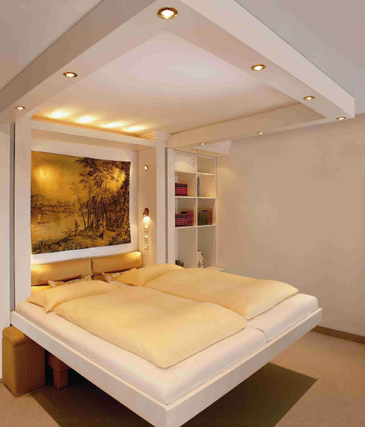 weltneuheit die elektrische hebeeinrichtung liftbed verschwindet in der zimmerdecke. Black Bedroom Furniture Sets. Home Design Ideas