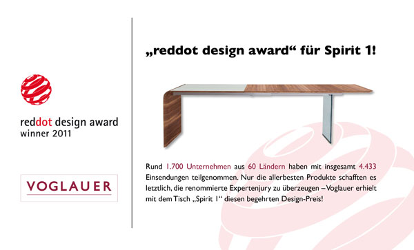 voglauer erh lt den red dot award designpreis in der. Black Bedroom Furniture Sets. Home Design Ideas